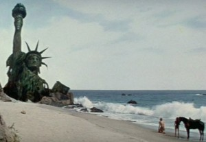 "Statue of Liberty buried in the sand from ""Return to the Planet of the Apes"""