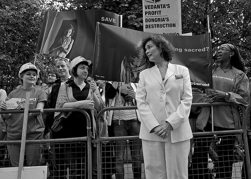 Bianca Jagger at a protest in London