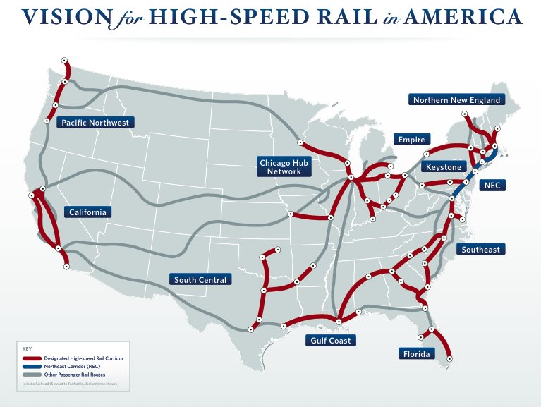 Map Shows What USWide High Speed Rail Might Look Like TreeHugger - Bullet train locations us map