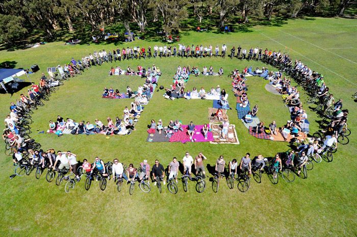 350.org action in Sydney, Australia