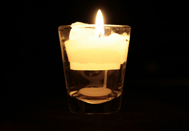 candle in a glass