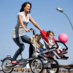 Moms and kids on bikes