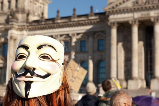 Berlin OWS event with Guy Fawkes mask