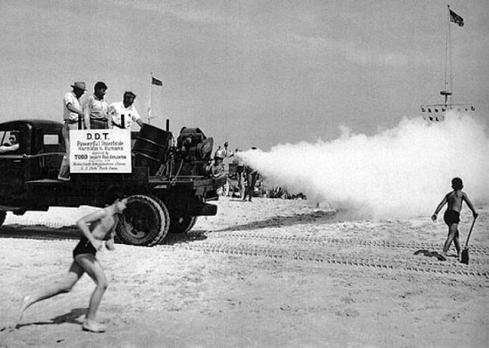 Spraying DDT on Jones Beach, Long Island, 1953.