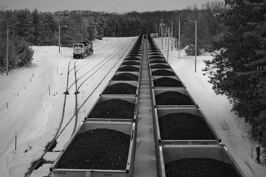 coal train in the snow