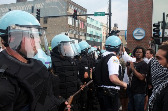 riot police in Chicago