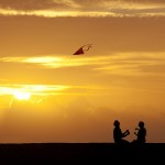 sunset with kite