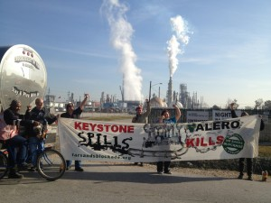 banner at Valero refinery protest
